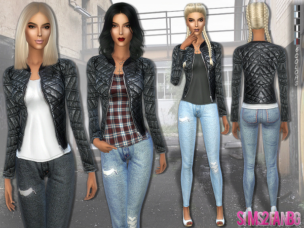 The Sims Resource: 163   Casual outfit with leather jacket by sims2fanbg