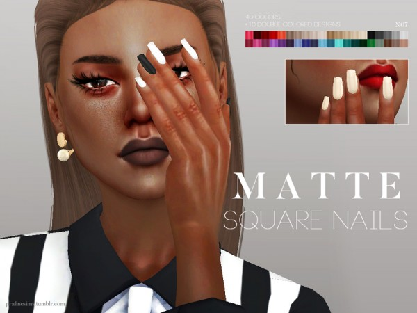 The Sims Resource Matte Square Nails N07 By Pralinesims