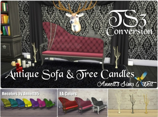 Annett`s Sims 4 Welt: Antique Sofa & Tree Candles Converted from TS3 to TS4