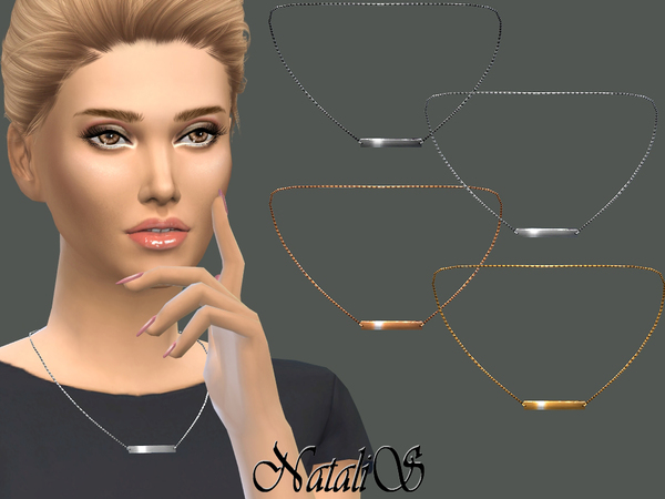 The Sims Resource: Metal Bar Pendant Link Necklace by NataliS