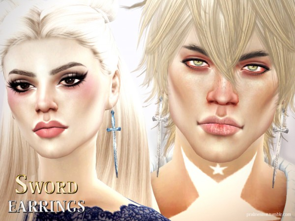 The Sims Resource: Sword Earrings by Pralinesims