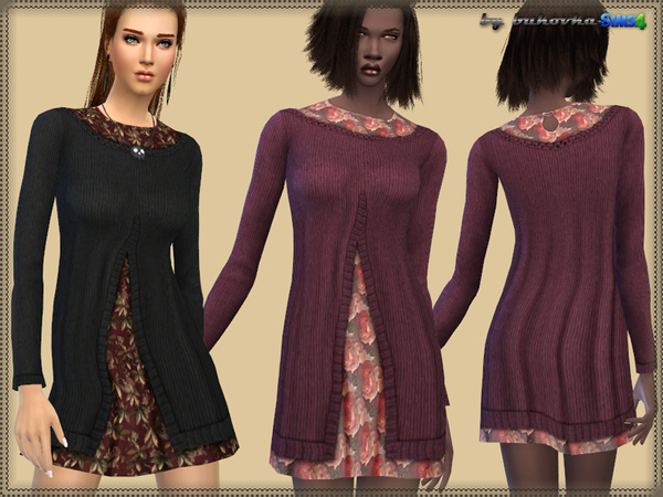 The Sims Resource: Dress Floral Print by bukovka