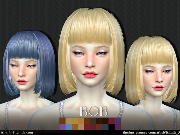 The Sims Resource: Bob hairstyle by tsminh 3