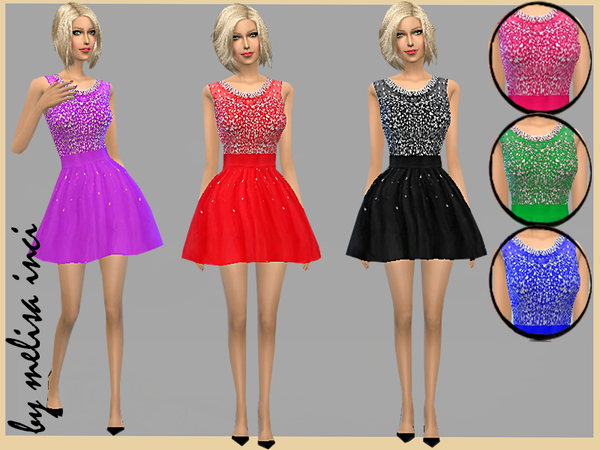 The Sims Resource: Shimmering Short Dress by Melisa Inci