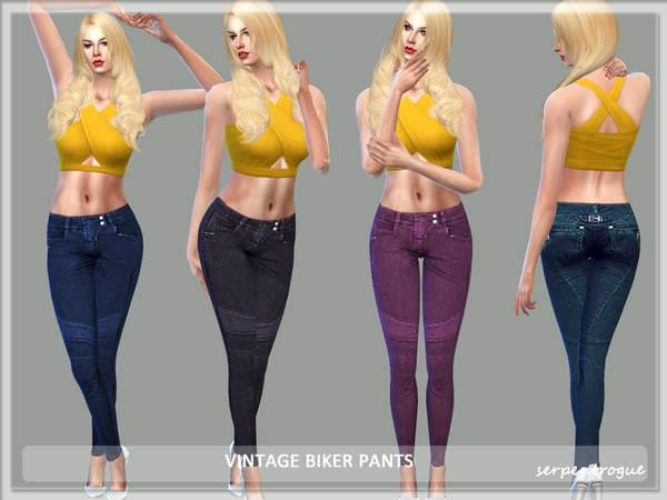 The Sims Resource: Vintage Biker Pants by Serpentrogue