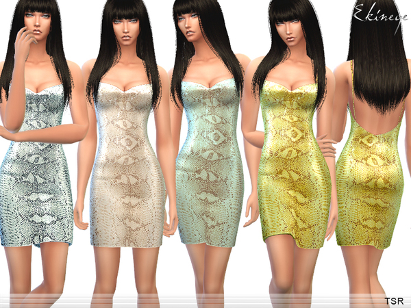 The Sims Resource: Snake Print Sequin Mini Dress by ekinege