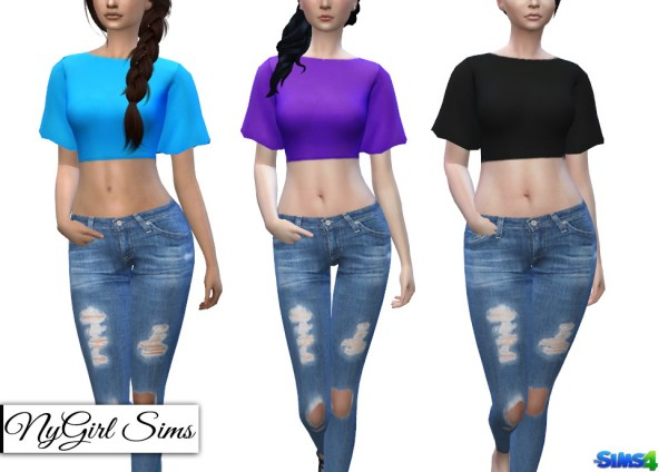 NY Girl Sims: Flare Sleeve Crop Top by NYGirlSims