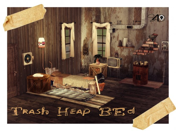 Sims 4 Designs: Trash Heap Bed converted from Ts3 to TS4