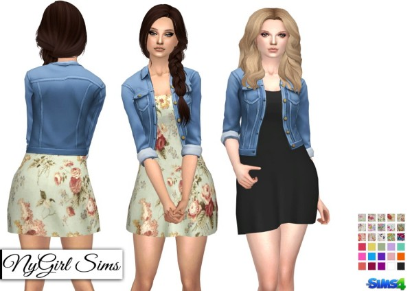 Ny Girl Sims Spring Dress With Denim Jacket Sims 4