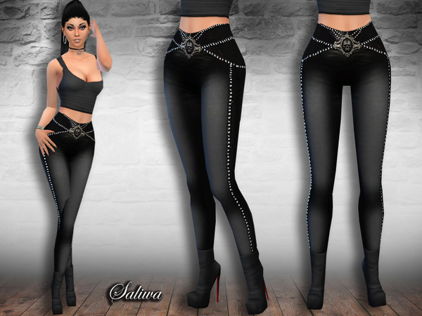 The Sims Resource: Rock Queen Leather Pants by Saliwa