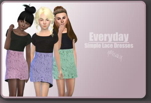 Xmisakix sims: Simple Lace Dresses