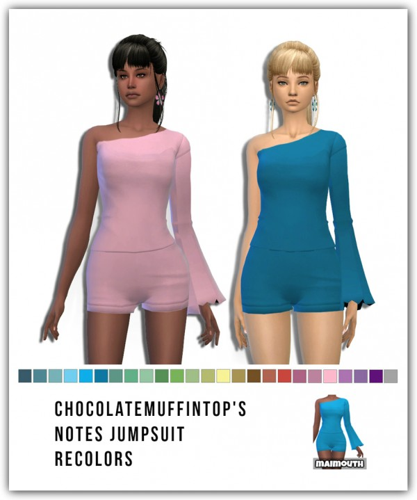Simsworkshop: Notes Jumpsuit Recolors by Maimouth