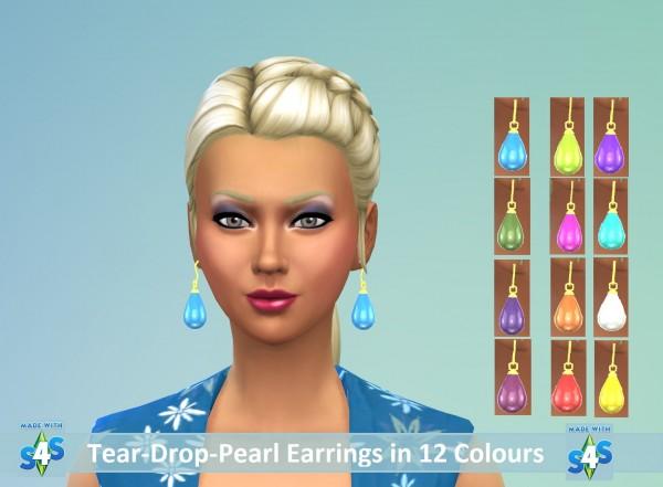 Mod The Sims: Ear Teardrop Pearl Earring Set by wendy35pearly