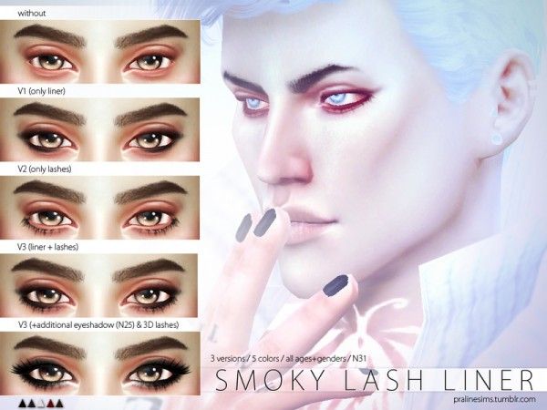 The Sims Resource: Smoky Lash Liner N31by Pralinesims