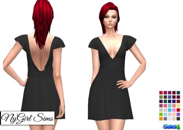 NY Girl Sims: Plunge Neck Skater Dress