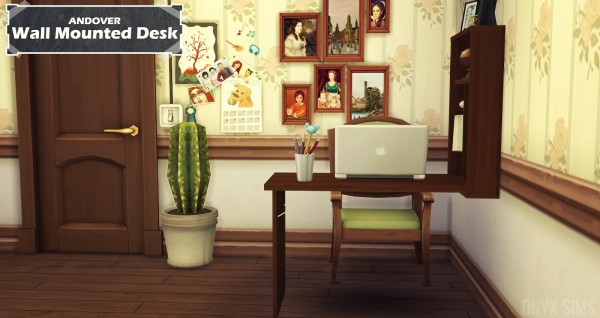 Onyx Sims: Andover Wall Mounted Desk + Clutter