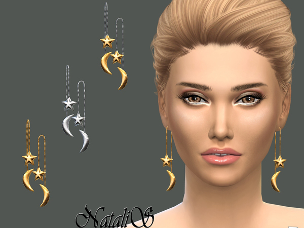 The Sims Resource: Star Moon Front Back Drop Earrings by NataliS