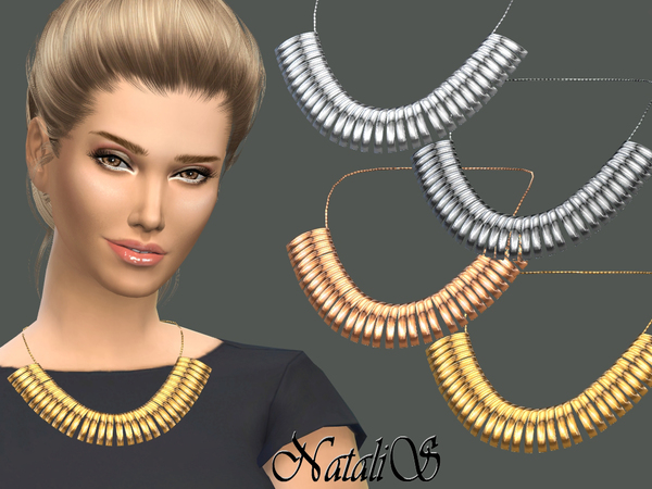 The Sims Resource: Curved plates necklace by NataliS
