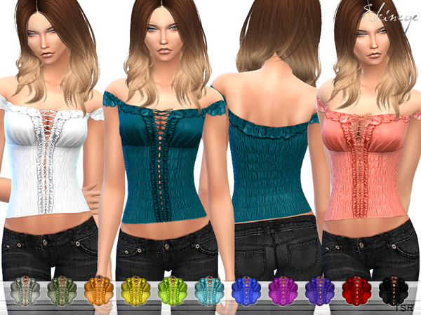 The Sims Resource: Off The Shoulder Ruffle Top by ekinege