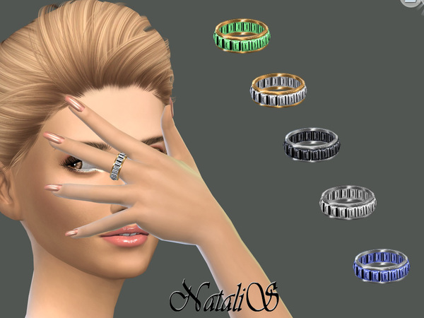 The Sims Resource: Baguette crystals ring by NataliS