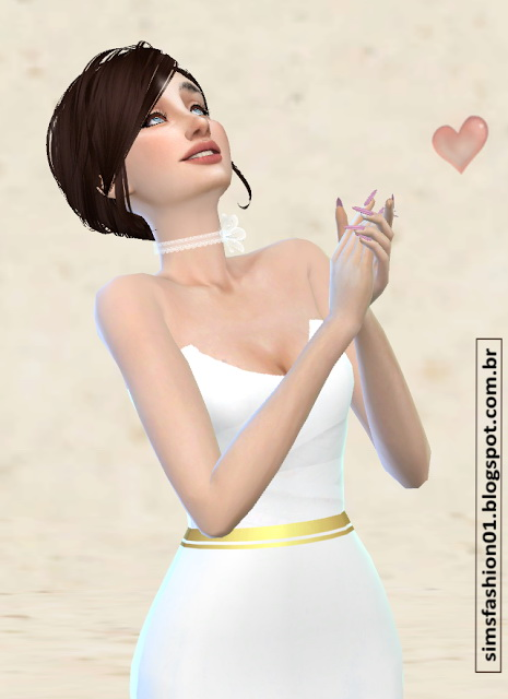 Sims Fashion 01: Satin Wedding Dress With Gold Belt