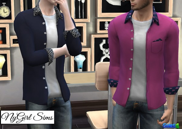 NY Girl Sims: Patterned Collar and Cuff Button Down
