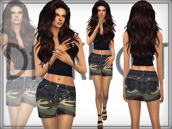The Sims Resource: Camo Denim Skirt by DarkNighTt