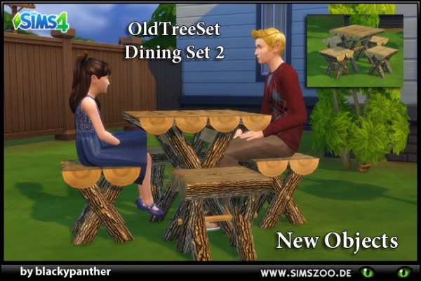 Blackys Sims 4 Zoo: Old tree dining set 2 by blackypanther