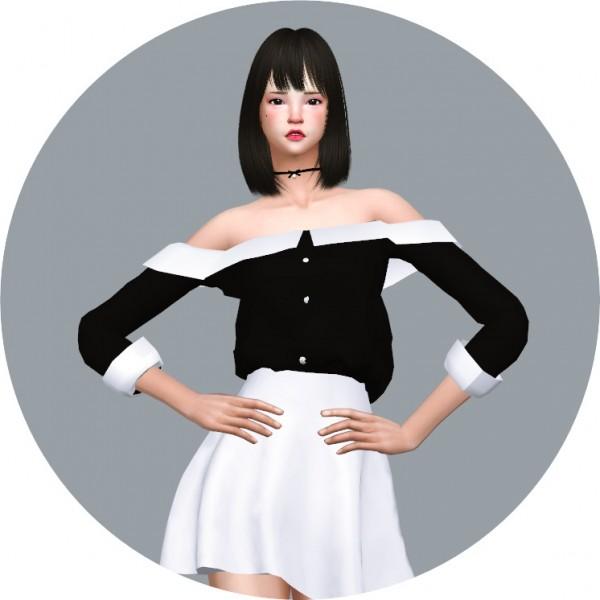 SIMS4 Marigold: Off Shoulder Collar Blouse