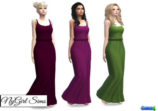 NY Girl Sims: Gathered Waist Tank Maxi Dress in Solids and Prints
