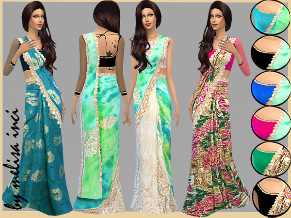 The Sims Resource: Floral Print Sarees by melisa inci