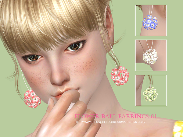 The Sims Resource: Flower balls earrings N01 by S Club