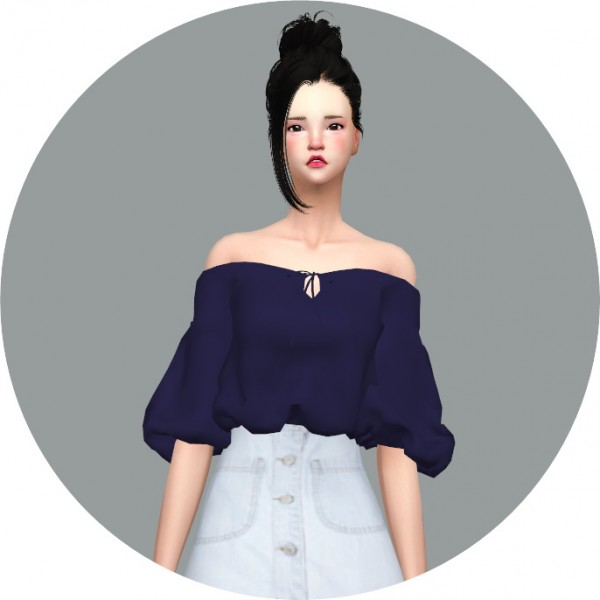Sims4 Marigold Off Shoulder Summer Blouse Sims 4 Downloads