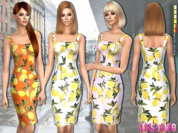 The Sims Resource: 179   Lemon print dress by sims2fanbg