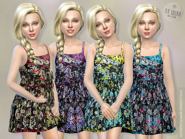 The Sims Resource: Voile Dress with Flounces by lillka
