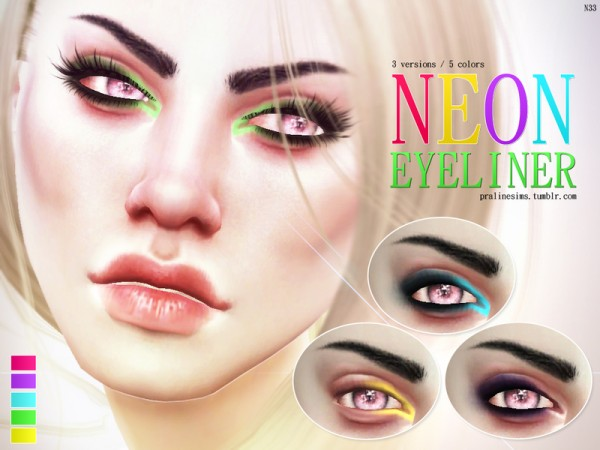 The Sims Resource: Neon Eyeliner N33 by Pralinesims