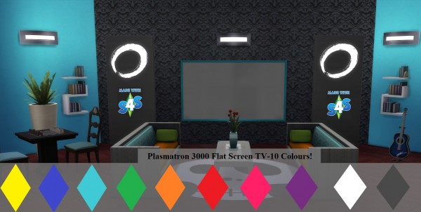 Mod The Sims: Plasmatron 3000 Flat Screen TV 10 Colours by wendy35pearly