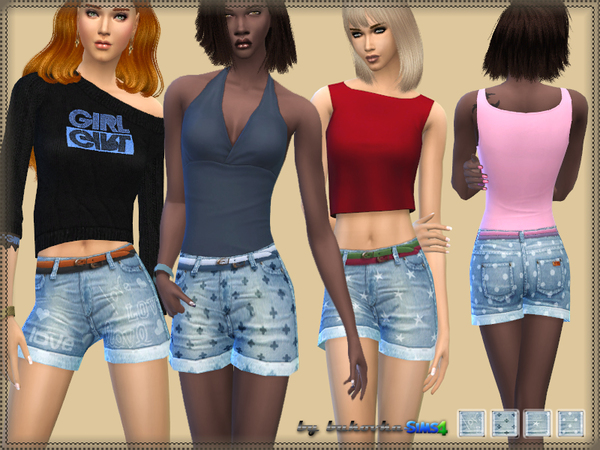 The Sims Resource: Shorts Denim & Print by Bukovka