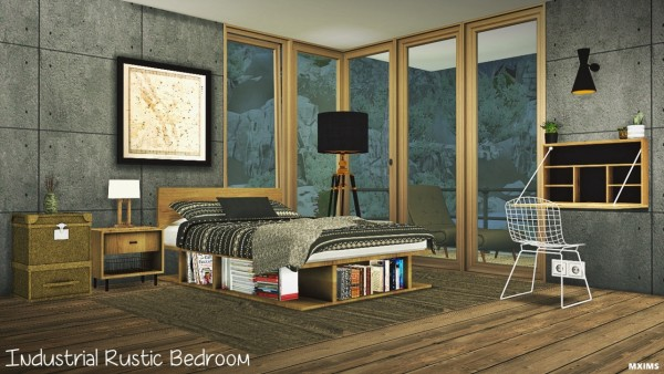 MXIMS Industrial rustic bedroom • Sims 4 Downloads