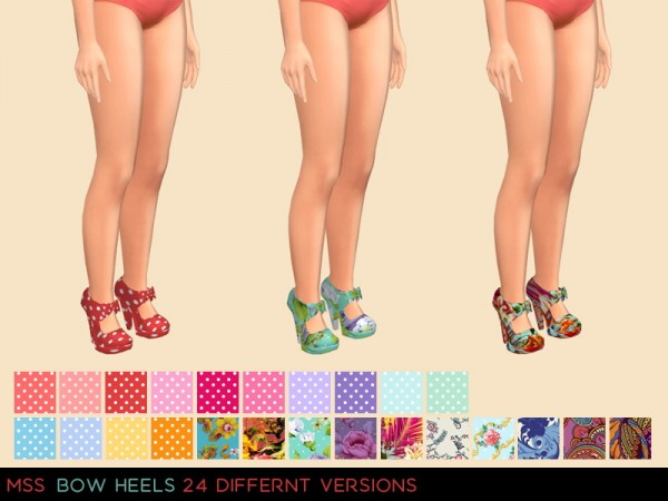 Simsworkshop: Bow Heels with pattern by midnightskysims