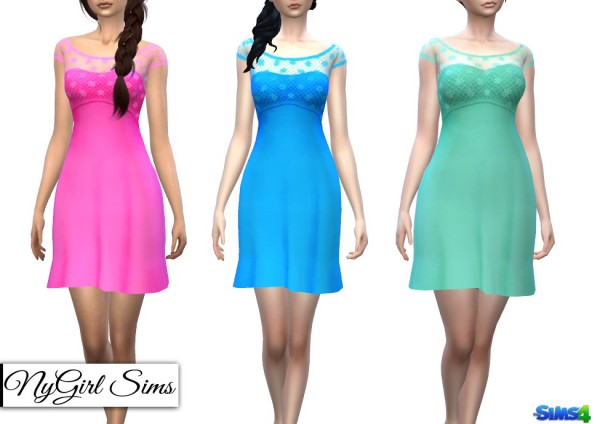 NY Girl Sims: Strapless Dress with Lace Crop Overlay