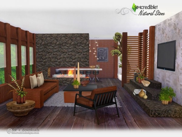 The Sims Resource: Natural Stone livingroom by SIMcredible