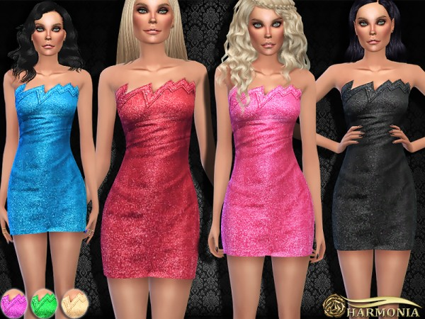 The Sims Resource: Lightning Silvery Strapless Dress by Harmonia