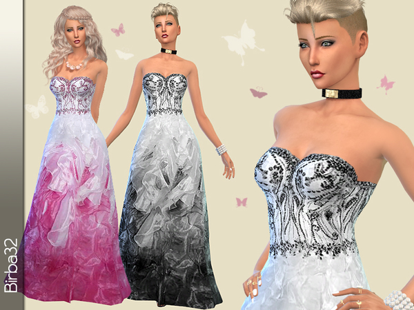 The Sims Resource: Pink Butterfly dress by Birba32