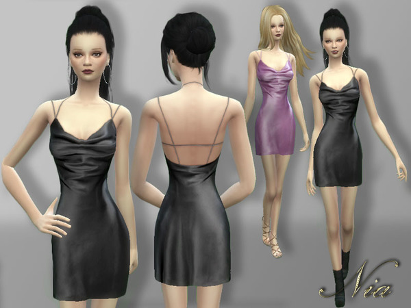 The Sims Resource: Silk Satin Mini Dress by Nia