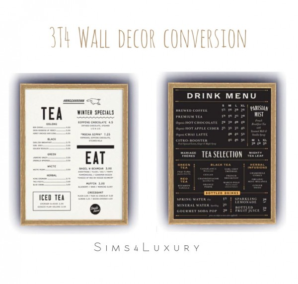 Sims4Luxury: Wall menu decor converted from TS3 to TS4