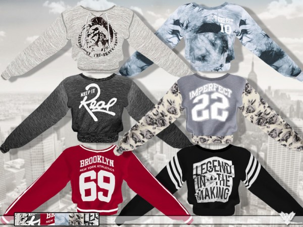 The Sims Resource: Athletic Department Sweatshirt Collection by Pinkzombiecupcake