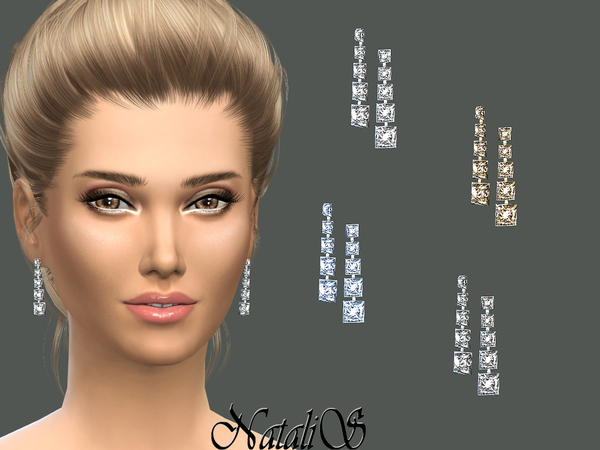 The Sims Resource: Bridal crystal drop earrings by NataliS