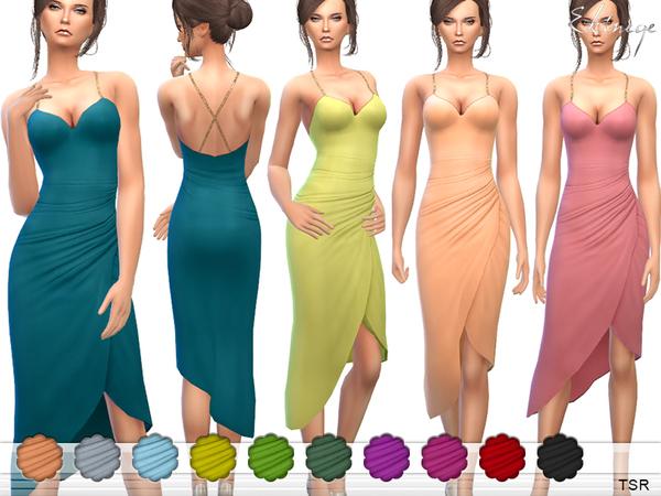 The Sims Resource: Embellished Gathered Dress by ekinege