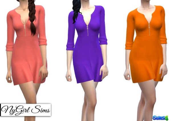 NY Girl Sims: Zippered V Neck Dress in Solids